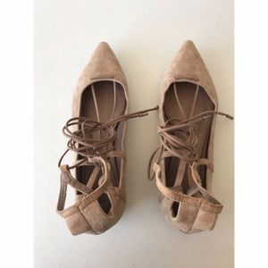 Schutz Olivia Lace Up Nude Suede Flats Tan